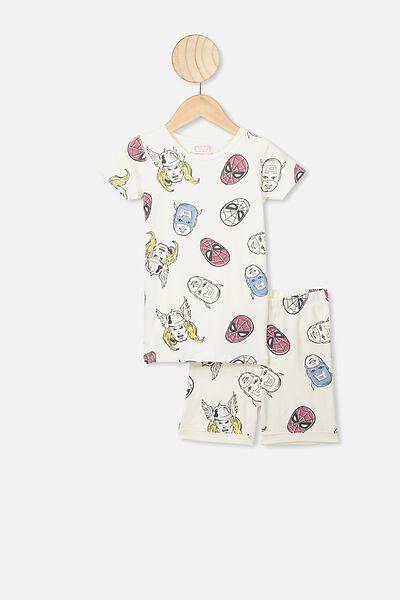 Ted Short Sleeve Pajama Set, LCN MAR DARK VANILLA/AVENGER TEAM