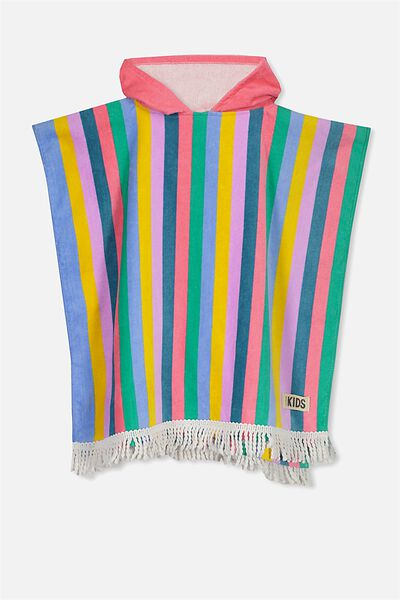 Kids Hooded Towel, PINK STRIPE