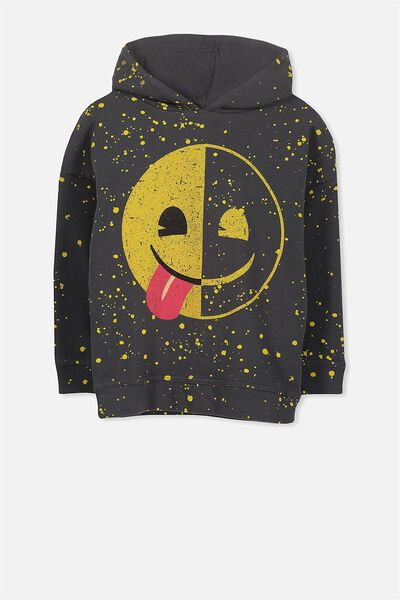 License Dropped Shoulder Hoodie, PHANTOM/PAINT SPLATTER EMOJI