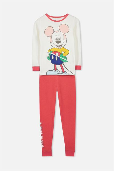 Jessie Long Sleeve Waffle Pajama Set, LCN RETRO MICKEY MOUSE