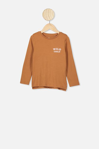 Penelope Long Sleeve Tee, CARAMEL TOFFEE/WILD CHILD FRONT AND BACK