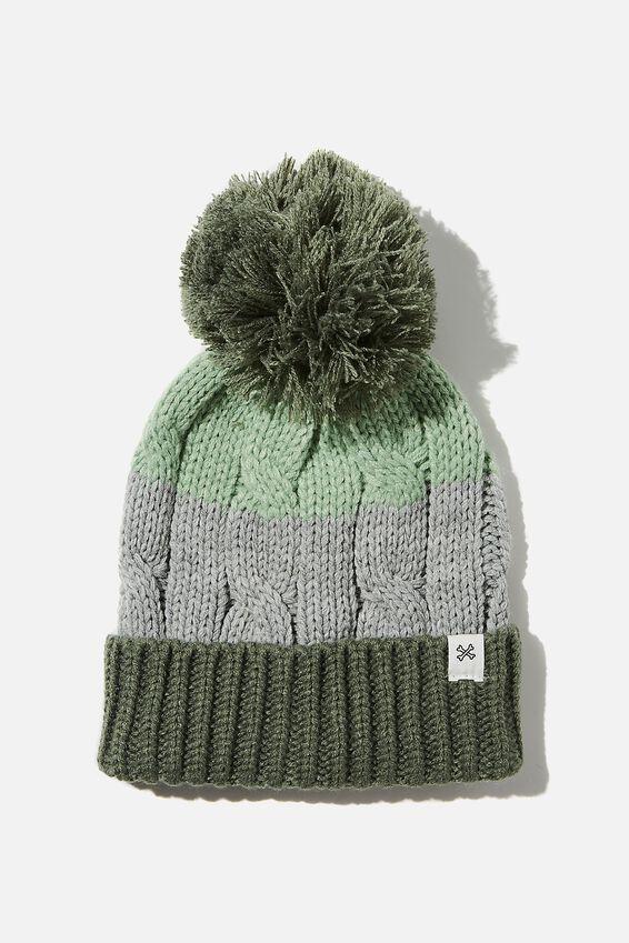 Winter Knit Beanie, SWAG GREEN SPLICE