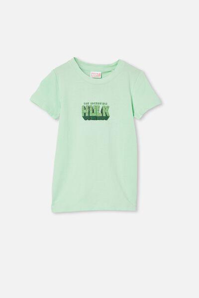 Short Sleeve License Embellished  Tee, LCN MAR WASHED SPEARMINT / THE HULK