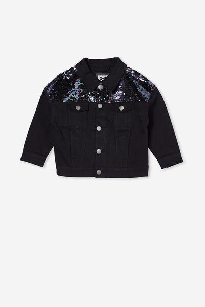 Emmy Oversized Denim Jacket, BLACK/SEQUIN