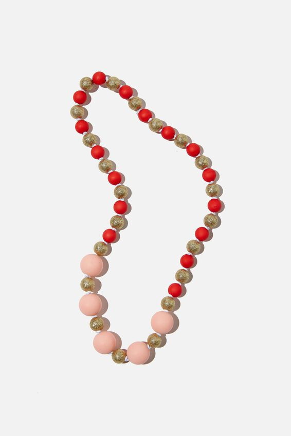 Mixed Beaded Necklace, JOLLY RED & PINK