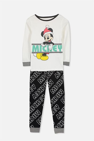 Dan Long Sleeve Boys PJs, LCN MICKEY MONOCHROME