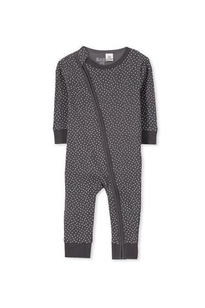 Mini Zip Footless Romper, GRAPHITE GREY/VANILLA SPOT