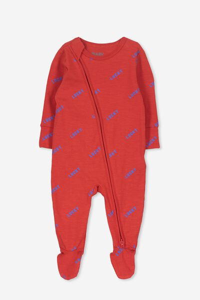 Mini Zip Through Romper, RALLY RED/LUCKY