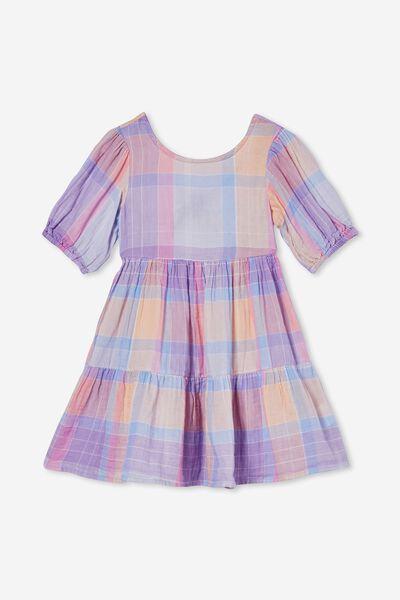 Georgia Short Sleeve Dress, LILAC MULTI CHECK