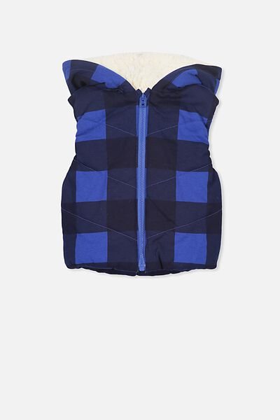 Mickey Puffer Vest, ADMIRAL BLUE/LUMBERJACK CHECK