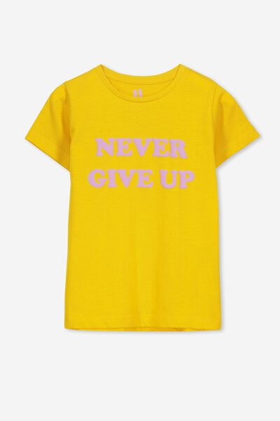 Penelope Short Sleeve Tee, GOLDEN ROD/NEVER GIVE UP/MAX