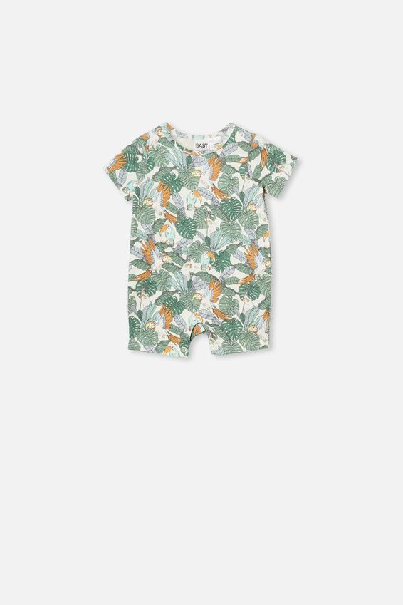 The Short Sleeve Romper, VANILLA/JUNGLE BIRDS