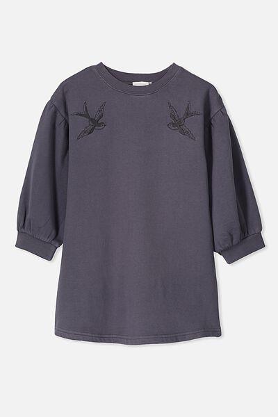 Angel Long Sleeve Dress, OCEAN GREY/BIRDS