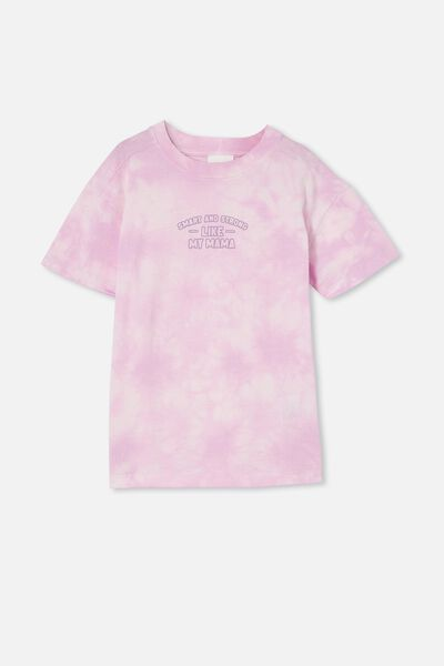 Scout Drop Shoulder Short Sleeve Tee, PALE VIOLET TIE DYE / SMART AND STRONG LIKE M