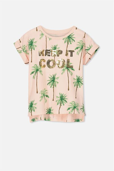 Anna Short Sleeve Stepped Hem Tee, BLOSSOM PALM/KEEP IT COOL