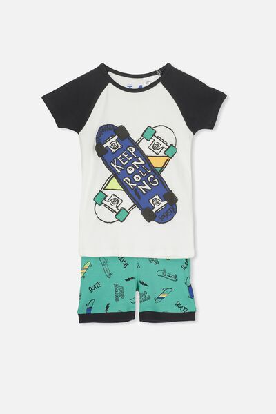 Angus Boys Short Sleeve PJ Set, KEEP ON ROLLING