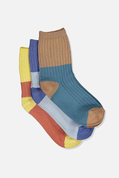 Kids 3 Pk Fashion Crew Socks, RIB BLK COL BLUE/BROWN YELLOW