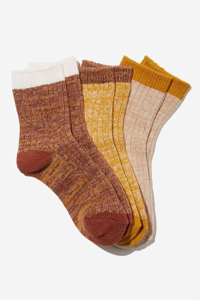 Kids 3Pk Crew Socks, NATURALS CHUNKY RIB