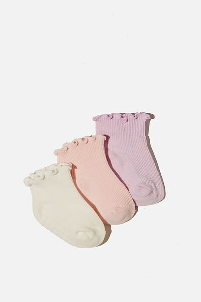 3Pk Baby Socks, PURPLE/PINK FRILL