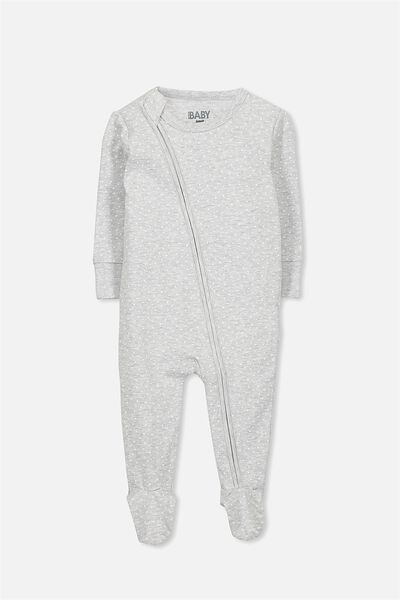 Mini Zip Footed Romper, CLOUD MARLE/MILK STAR