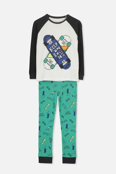 Louis Boys Raglan Long Sleeve Waffle Pyjama Set, KEEP ON ROLLING