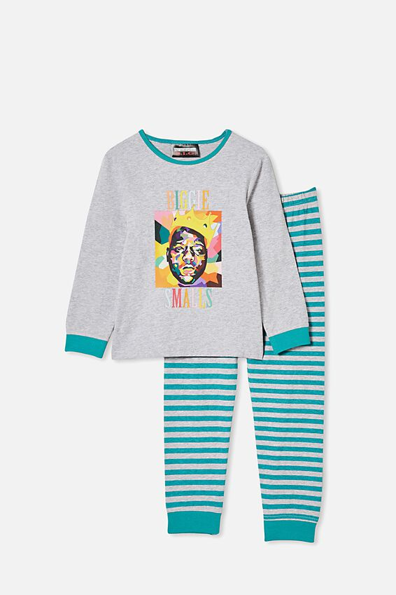 Orlando Long Sleeve Pj Set, LCN MT BIGGIE/SUMMER GREY MARLE