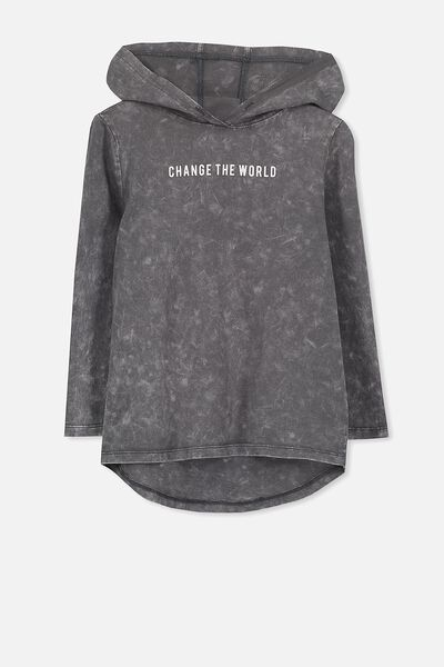 Aiden Hooded Long Sleeve Tee, GRAPHITE SW/CHANGE THE WORLD