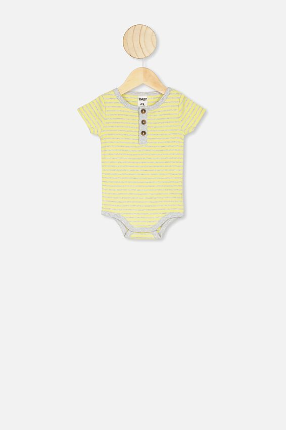 The Short Sleeve Placket Bubbysuit, ASH STRIPE LEMON DROP/ CLOUD MARLE BIND