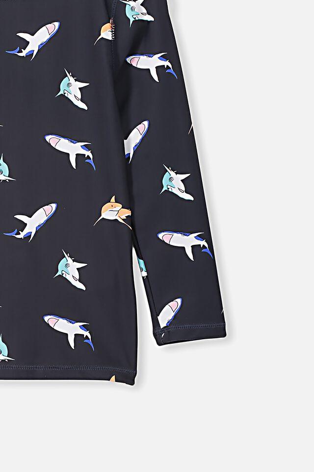 Flynn Long Sleeve Rash Vest, PHANTOM COLOURED SHARK