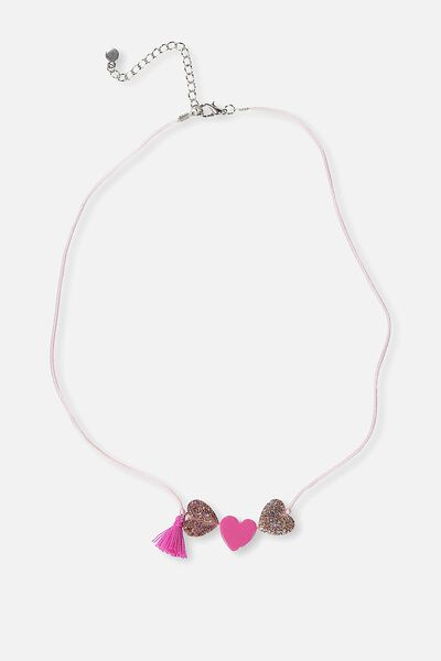 Sparkle Heart Necklace, VIBRANT PINK
