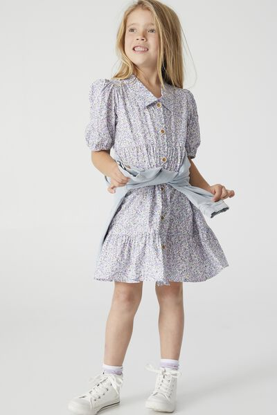 Jamala Short Sleeve Dress, BLUE TORQUAY DITSY