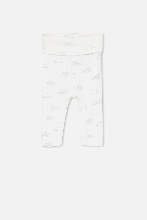Newborn Legging, MILK/HEDGEHOG