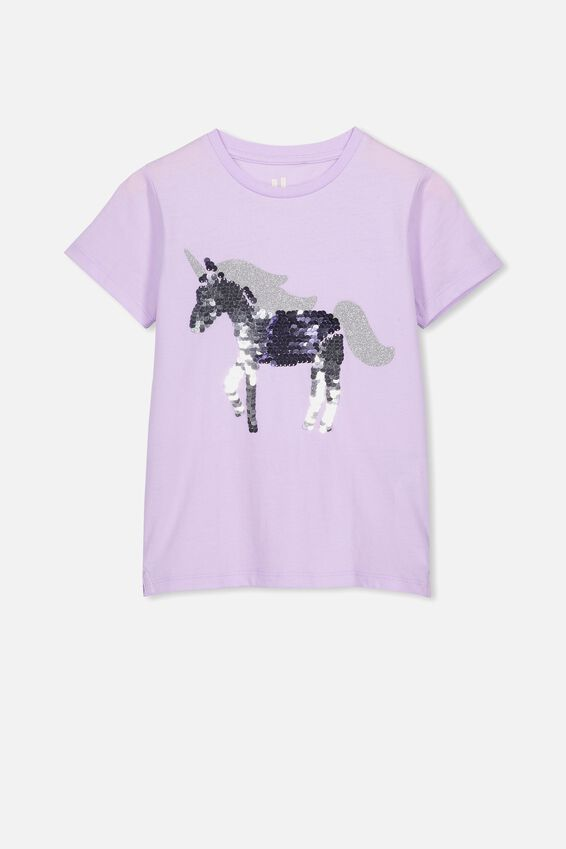 Stevie Ss Embellished Tee, BABY LILAC REVERSE SEQUIN UNICORN MAX