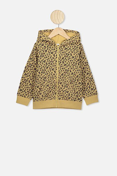 Sunny Zip Through Hoodie, SAND DUNE/SNOW LEOPARD/BRUSHED