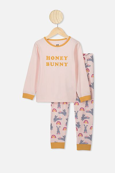 Florence Long Sleeve Pj Set, CRYSTAL PINK/HONEY BUNNY