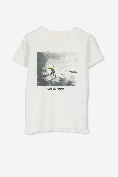 Max Short Sleeve Tee, VANILLA/RIDE THE WAVES