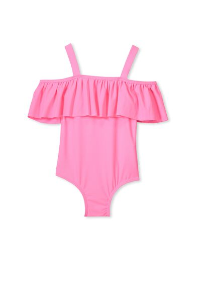 Ailie Frill One Piece, HIGHLIGHTER PINK