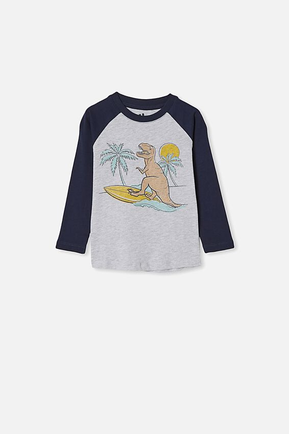 Tom Long Sleeve Raglan Tee, Lt GREY MARLE/DINO PALM