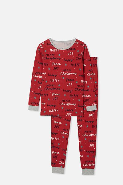 Avery Kids Unisex Long Sleeve Pyjama Set, MERRY CHRISTMAS LUCKY RED