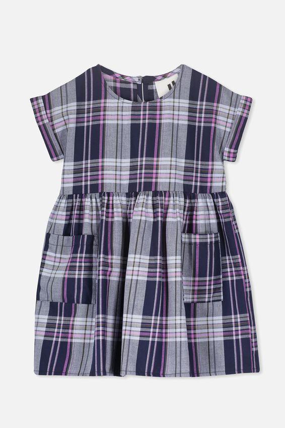 Malia Short Sleeve Dress, PEACOAT CHECK