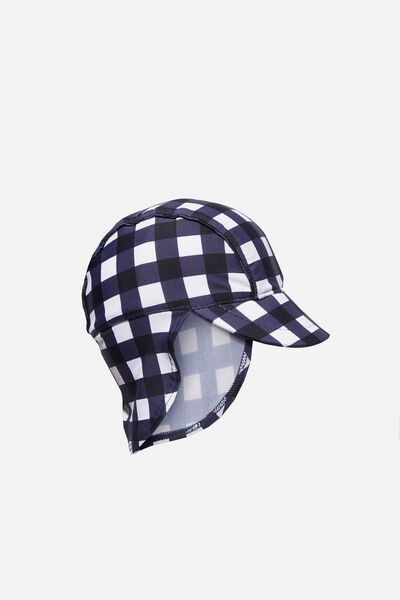 Newborn Sonny Swim Hat, NAVY/GINGHAM