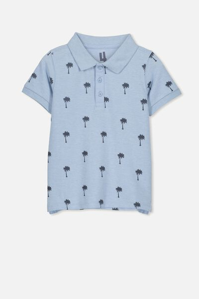 Kenny 3  Polo, ARCTIC BLUE MARLE/PALM TREE