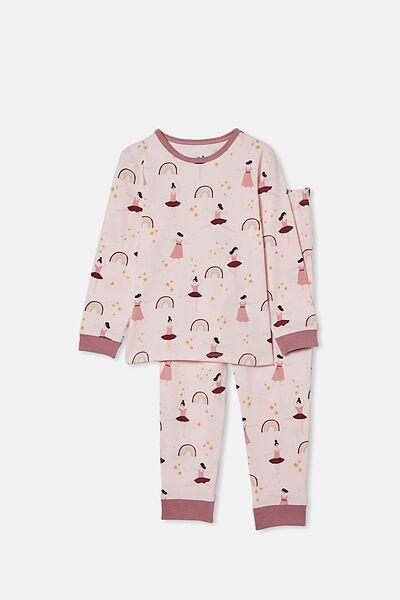 Lila Long Sleeve Pajama Set, BALLERINA/CRYSTAL PINK