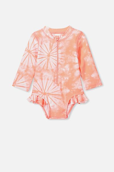 Malia Long Sleeve One Piece Swimsuit, NEON SALMON TIE DYE