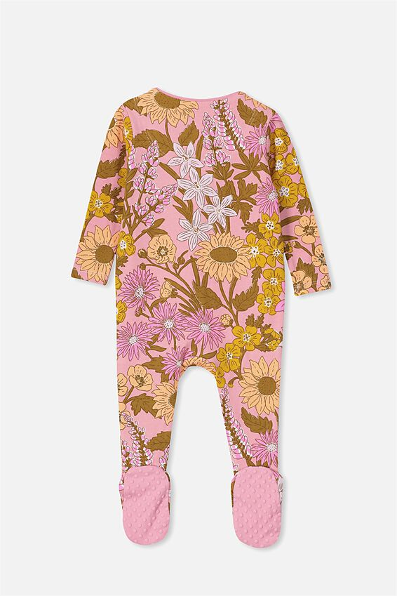 The Long Sleeve Zip Romper, SWEET BLUSH/CORA FLORAL