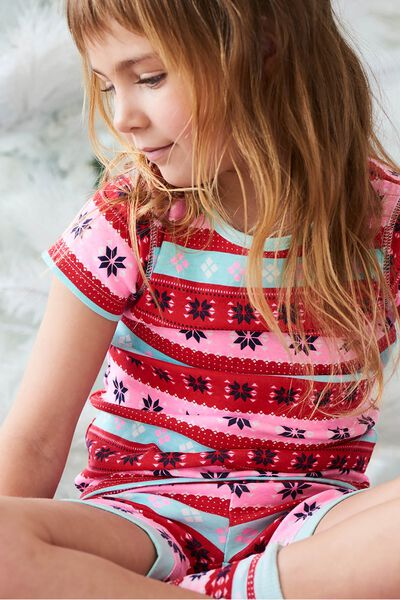 Chloe Girls Short Sleeve PJ Set, XMAS GIRLS FAIRISLE