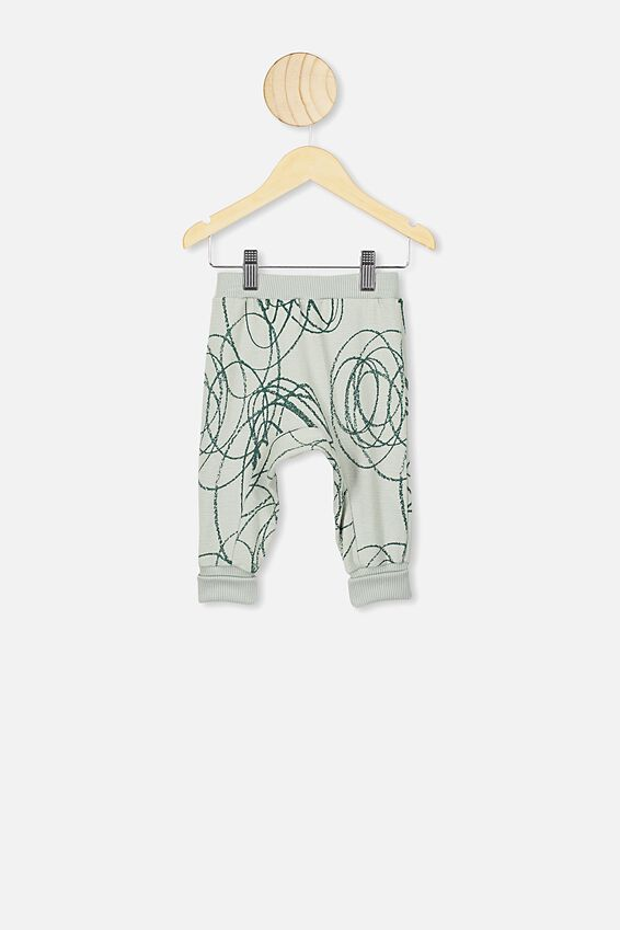 Casey Trackpant, STONE GREEN/BIG SCRIBBLE
