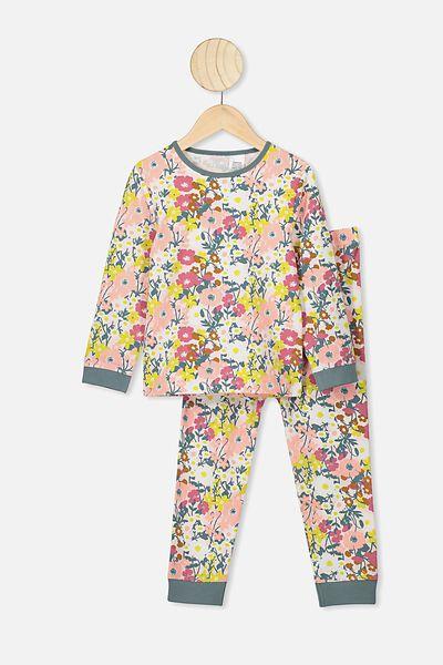 Florence Long Sleeve Pj Set, VANILLA/MEADOW PRINT