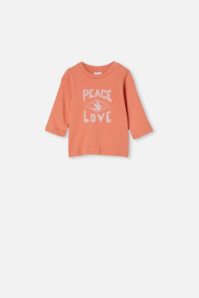 Jamie Long Sleeve Tee, DUST STORM/PEACE LOVE