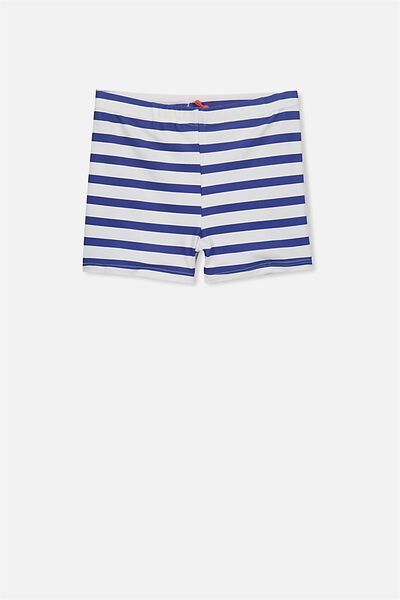 Billy Boyleg Swim Trunk, VANILLA/SCUBA BLUE STRIPE